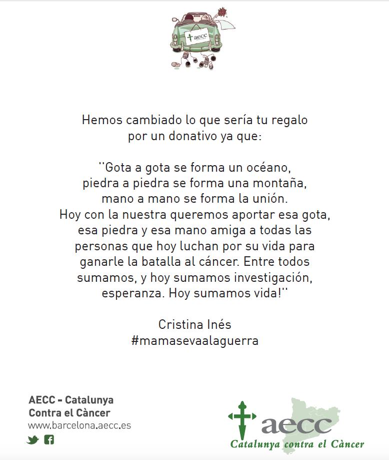 Tarjeta asociacion española contra el cancer